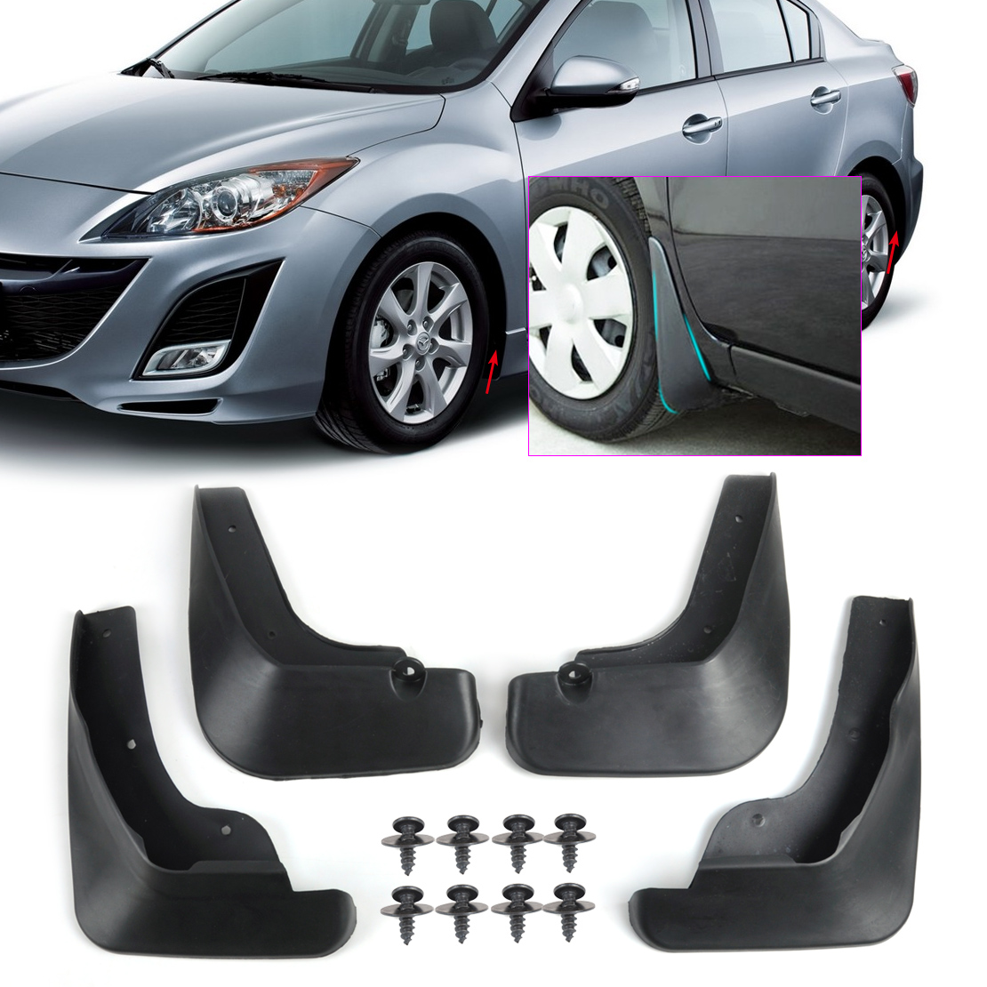 Mud Flaps Splash Guard Fender For Mazda 3 I Saloon Sedan