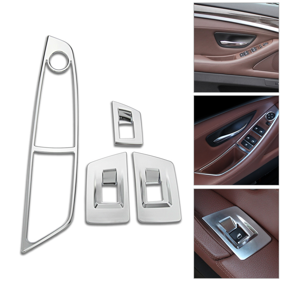 4pcs door window switch panel trim for bmw f10 5 series 520d 525i 2011 2015 2016 ebay. Black Bedroom Furniture Sets. Home Design Ideas