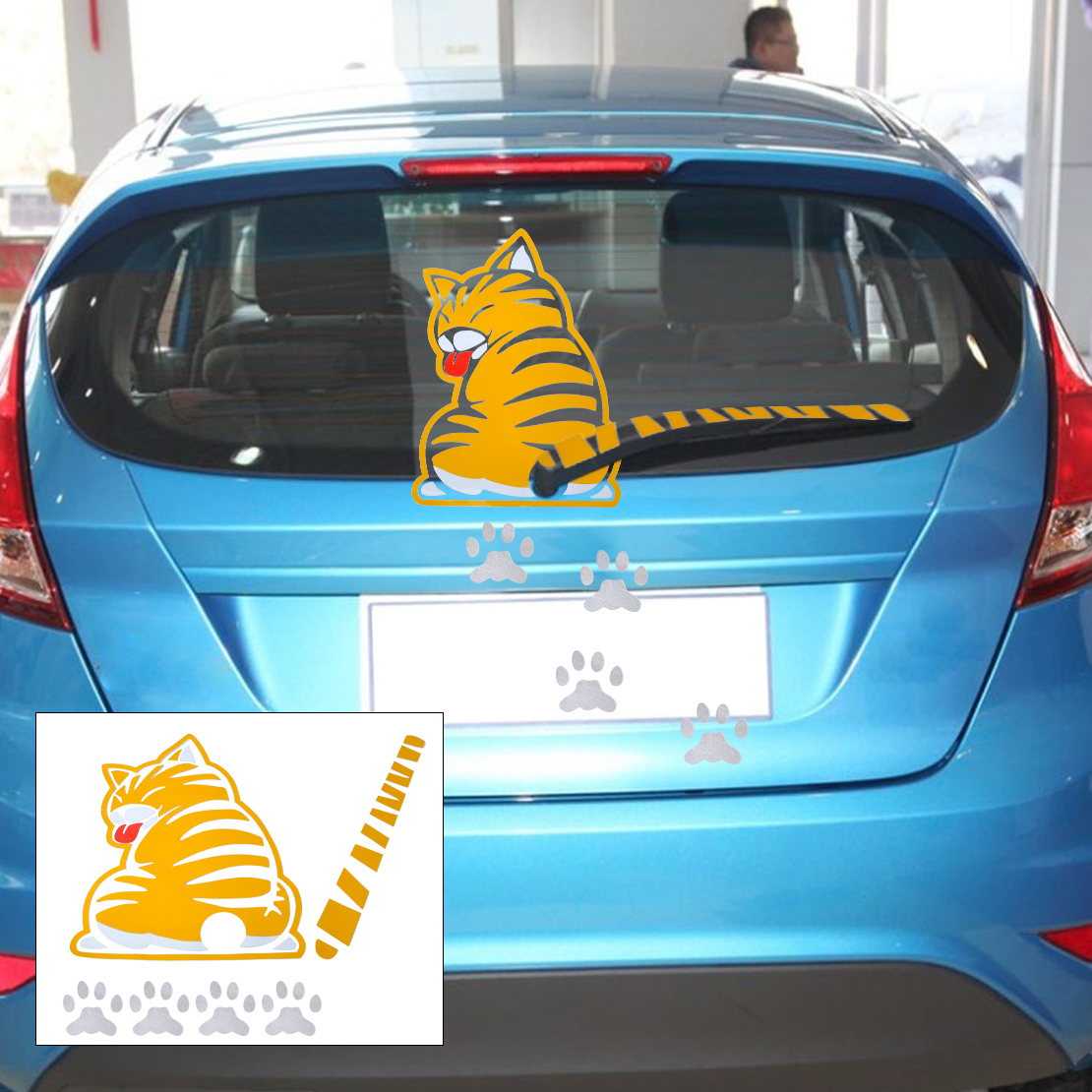 yellow wagging tail cat pet paw sticker car rear windshield window wiper decal ebay. Black Bedroom Furniture Sets. Home Design Ideas
