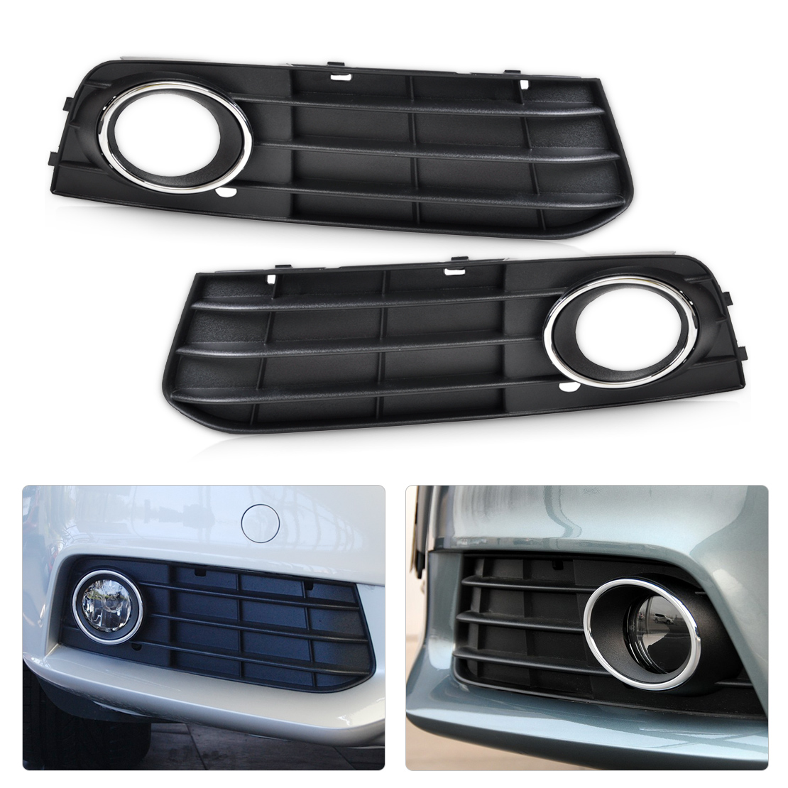 2pcs for 08 12 audi a4 fog light lamp cover grille. Black Bedroom Furniture Sets. Home Design Ideas