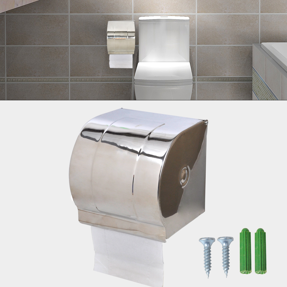Stainless steel waterproof toilet paper holder roll tissue box wall mounted ebay - Stainless steel toilet paper dispenser ...