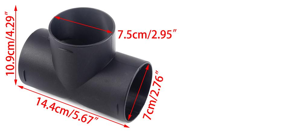 14,4x10,9x7,5 cm Auspuff T-förmiger Passt für Bootsheizungsluft Diesel 3 Auslass