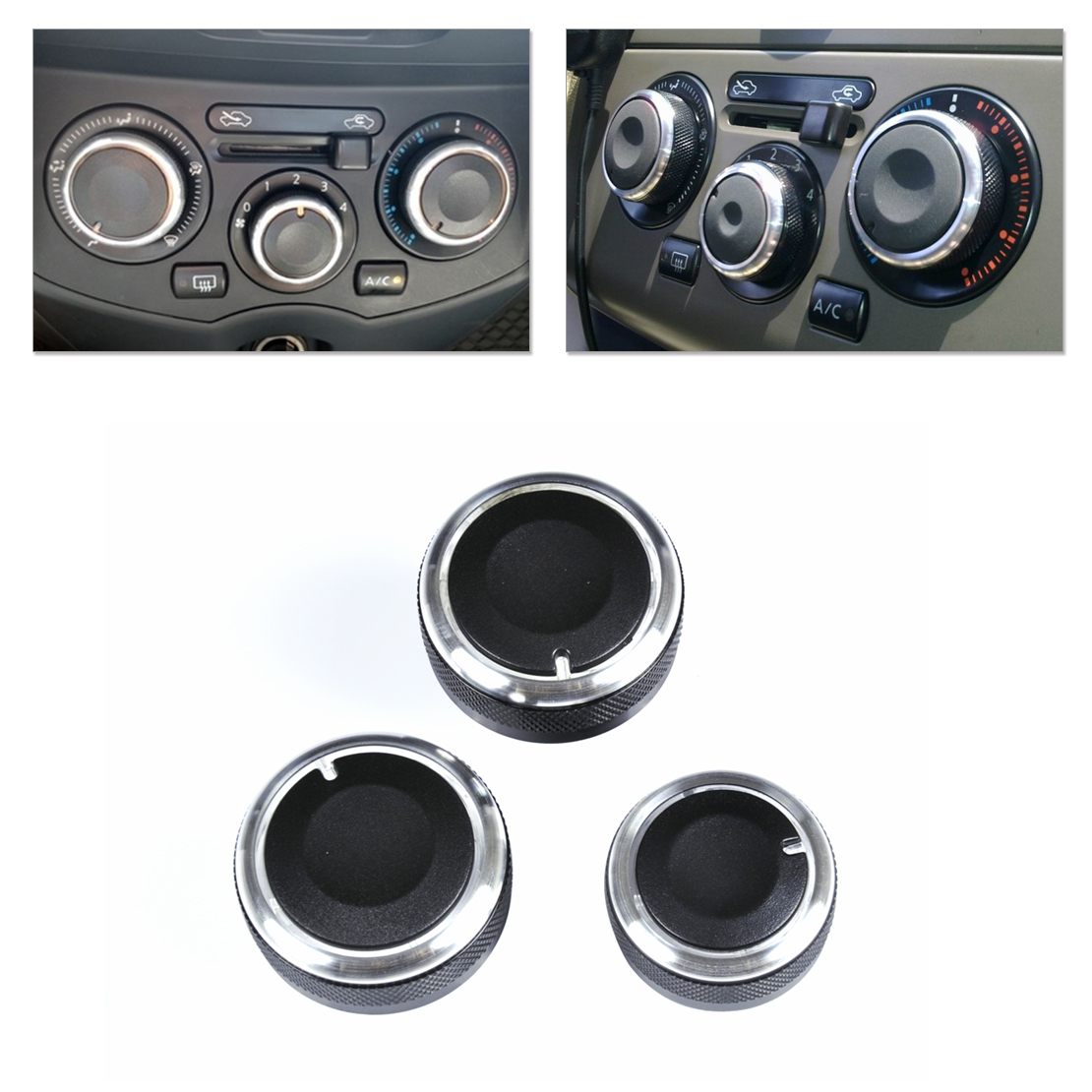 3 PCS Aluminum Alloy Air-Conditioning A//C Knobs Switch For Nissan LIVINA TIIDA