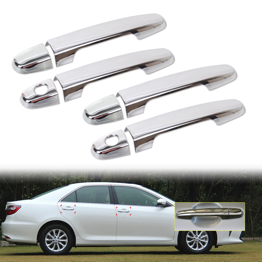 For Toyota Camry 2018 Chrome Door Handle Cover Molding Trim With Smart Key Hole