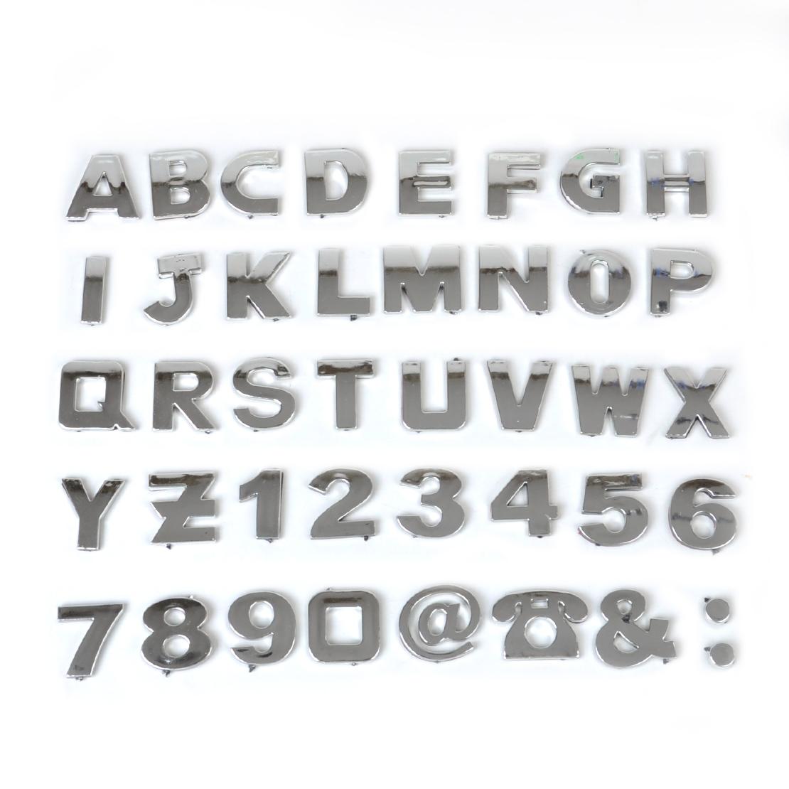 40pcs DIY 3D Chrome Car Emblem Sticker Alphabet Letter Number Symbol Badge Decal