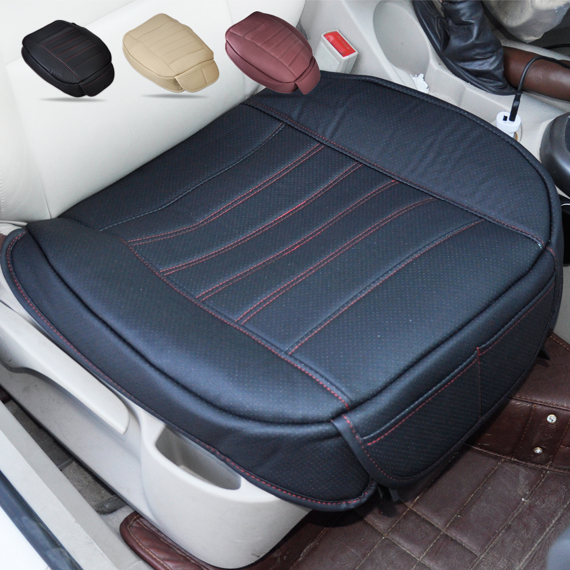 universal black car front seat cover breathable pu leather seat pad cushion 702706039154 ebay. Black Bedroom Furniture Sets. Home Design Ideas