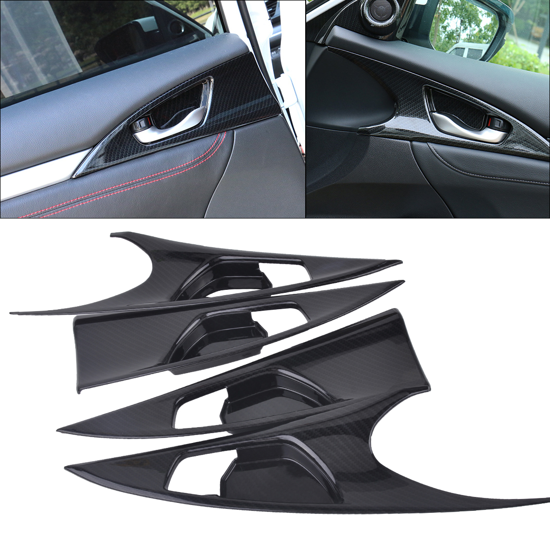 ABS Carbon Fiber Style Side Door Handle Bowl Cover For Honda Civic 2016 2017