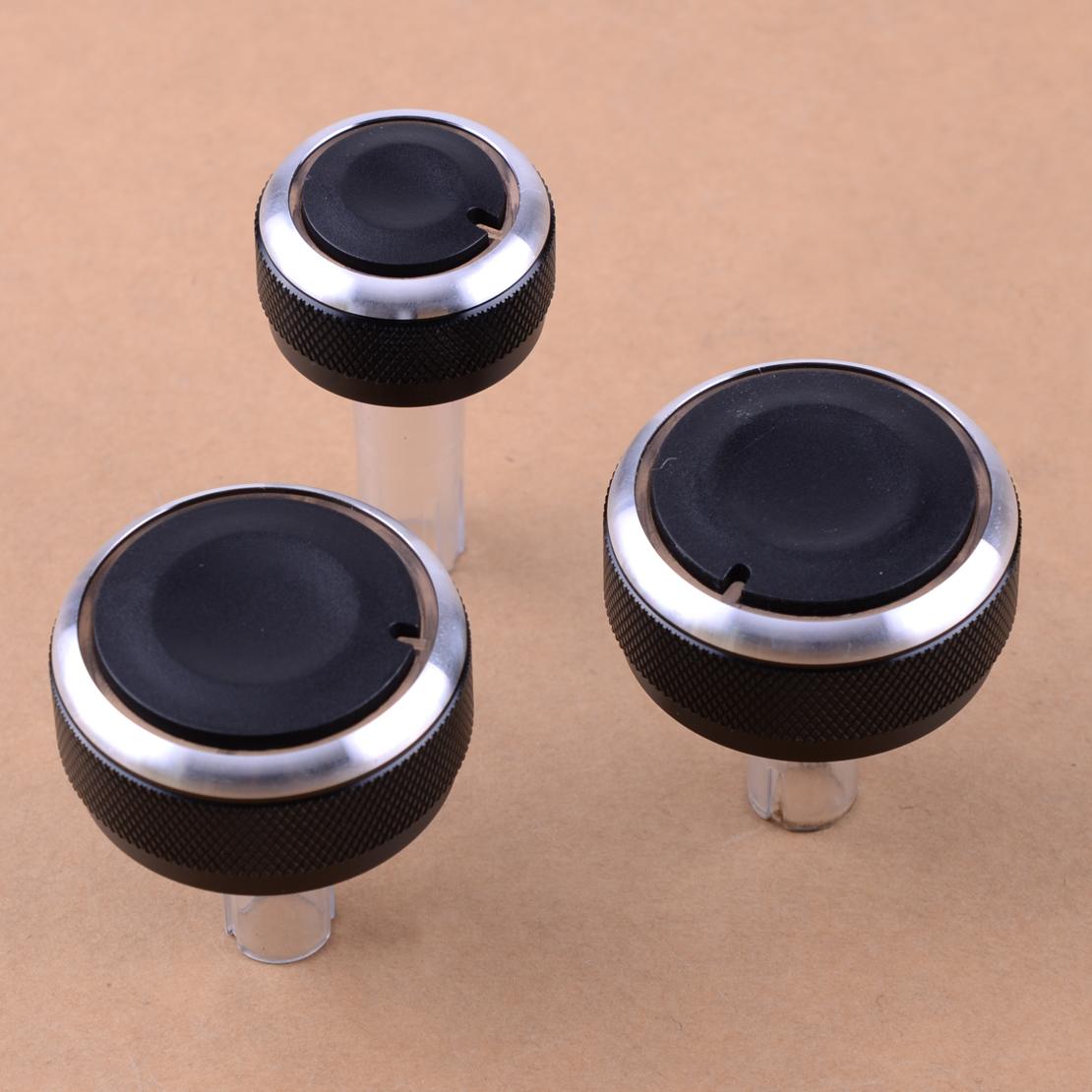 3pc ALU AC Heater Dash Climate Switch Knobs Buttons for Skoda Superb Octavia MK1