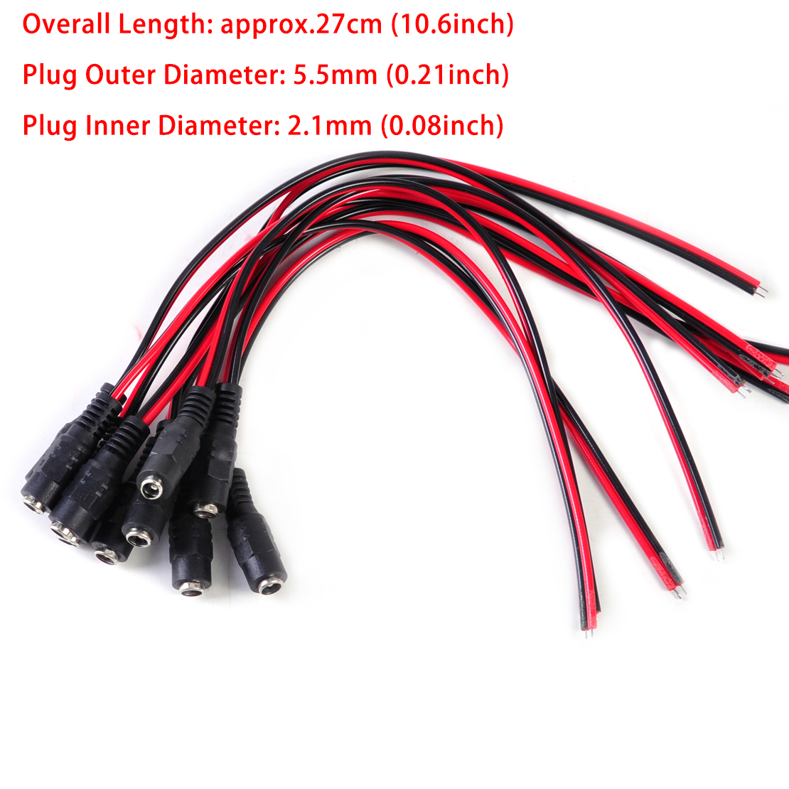 Awesome 10X 5 5 2 1Mm Female Dc Power Plug Connector Cctv Psu Pigtail Cable Wiring 101 Capemaxxcnl