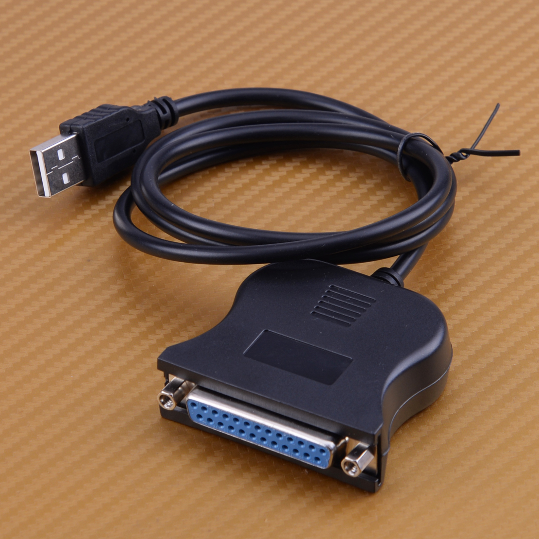 Black USB to 25 Pin DB25 Parallel Printer Cable Adapter Cord Converter