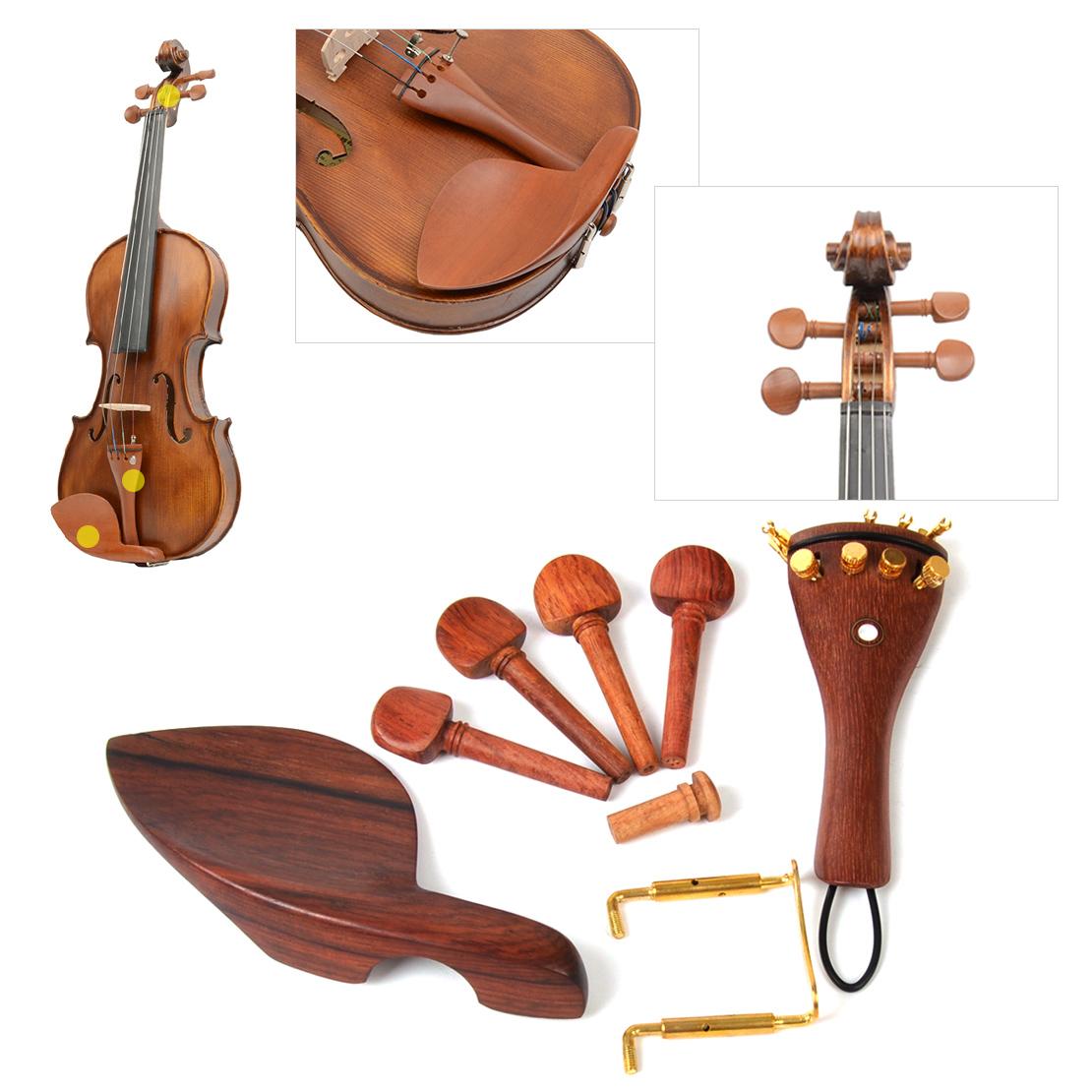 Violine Geige Zubehör Wirbel Saitenhalter Kinnhalter Endpin Tailpiece Set