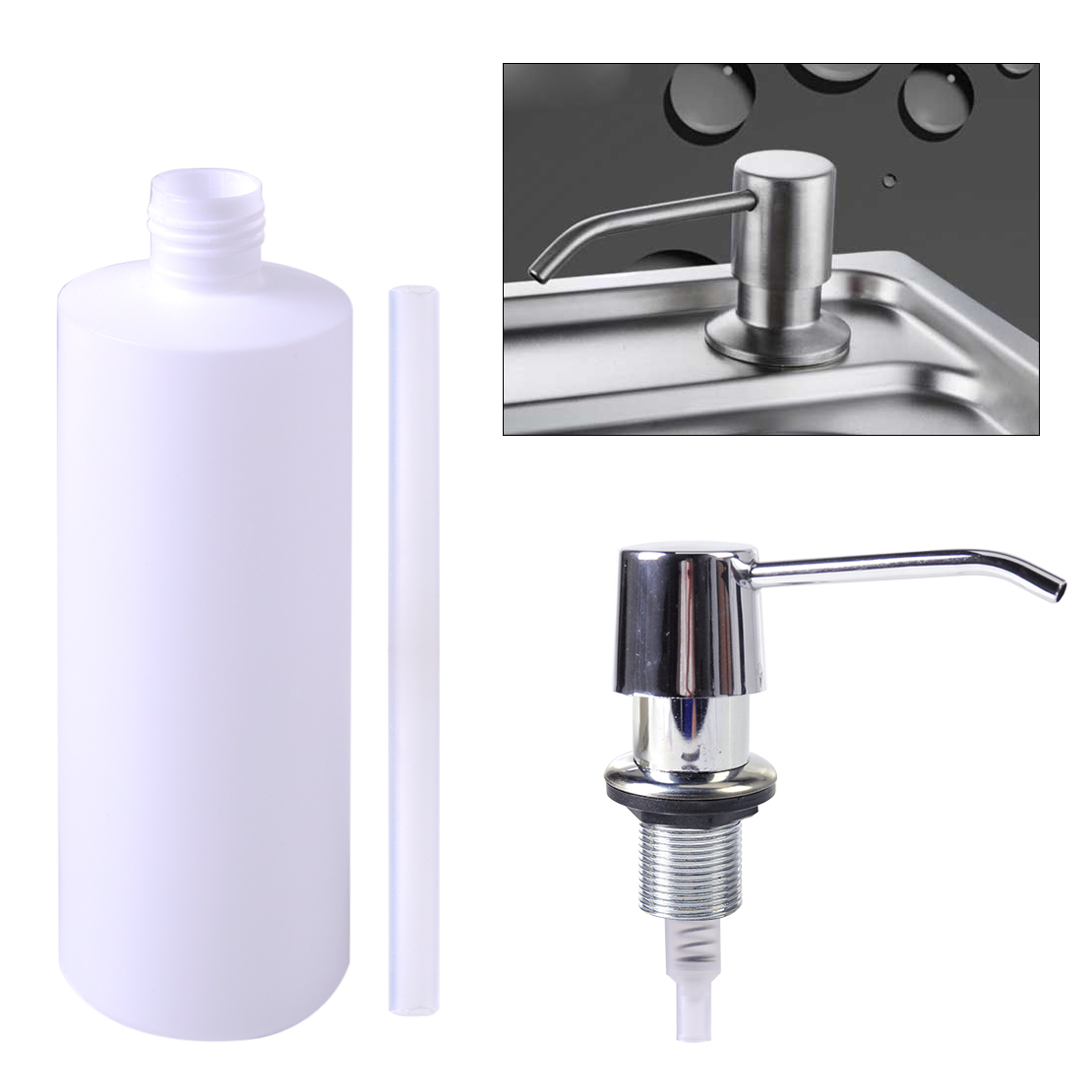 Bathroom Sink Liquid Soap Holder Dispenser Plastic Kitchen