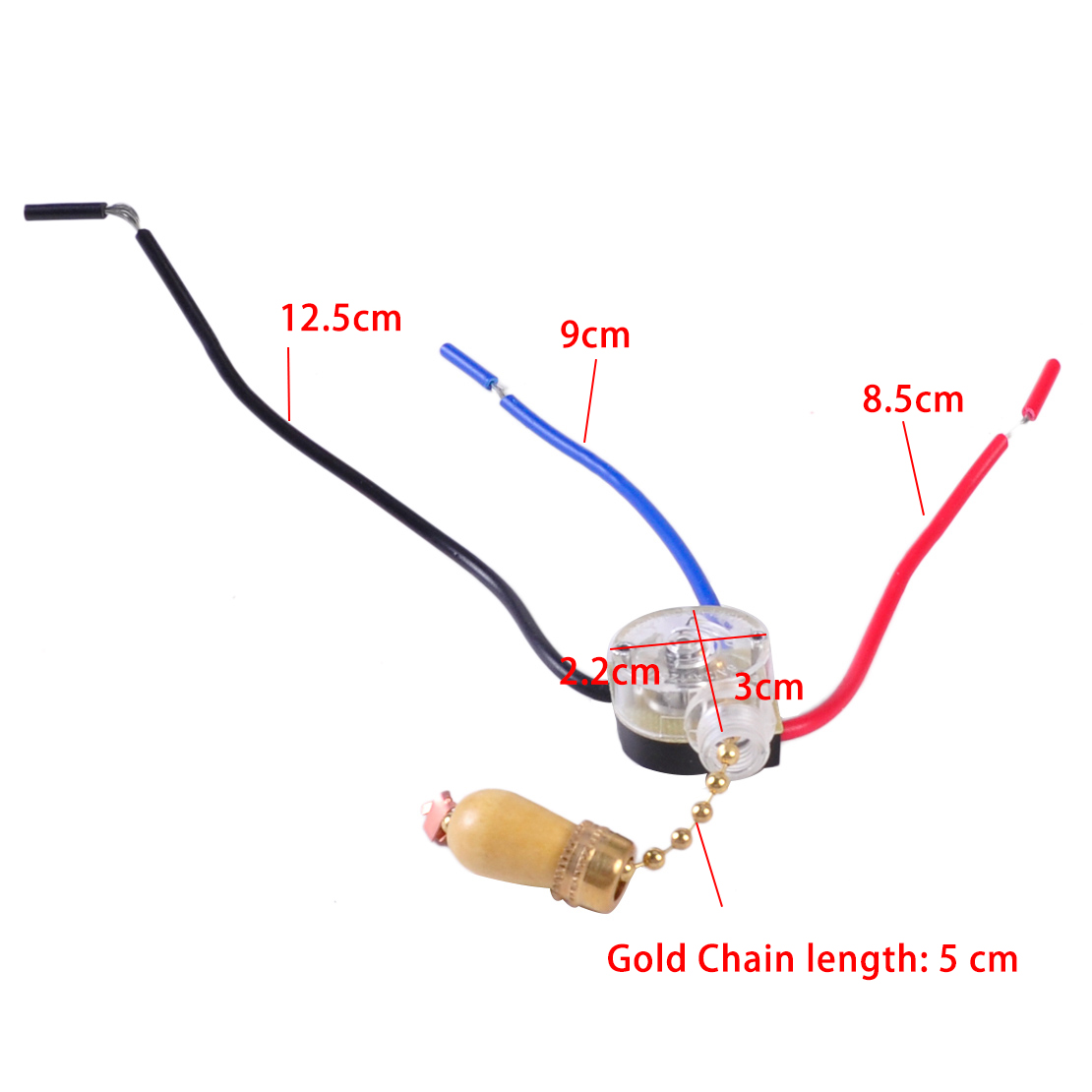 3 Wires Ceiling Fan Pull Chain Cord Switch Control