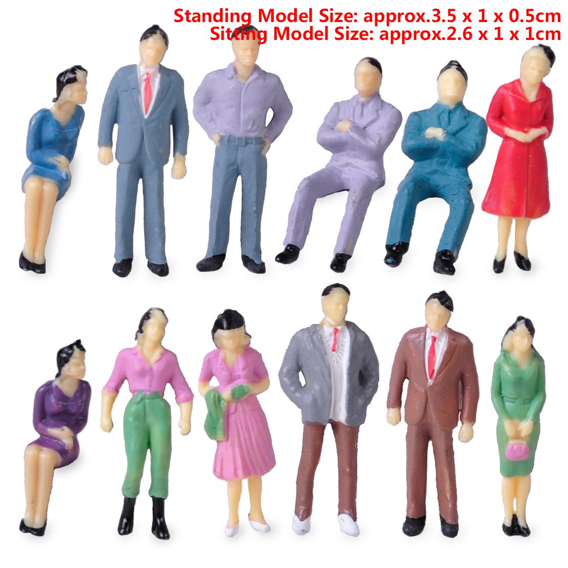 50x 1:50 Modell Figuren Menschen Sitzende Stehende für Modellbahn Eisenbahn Weiß