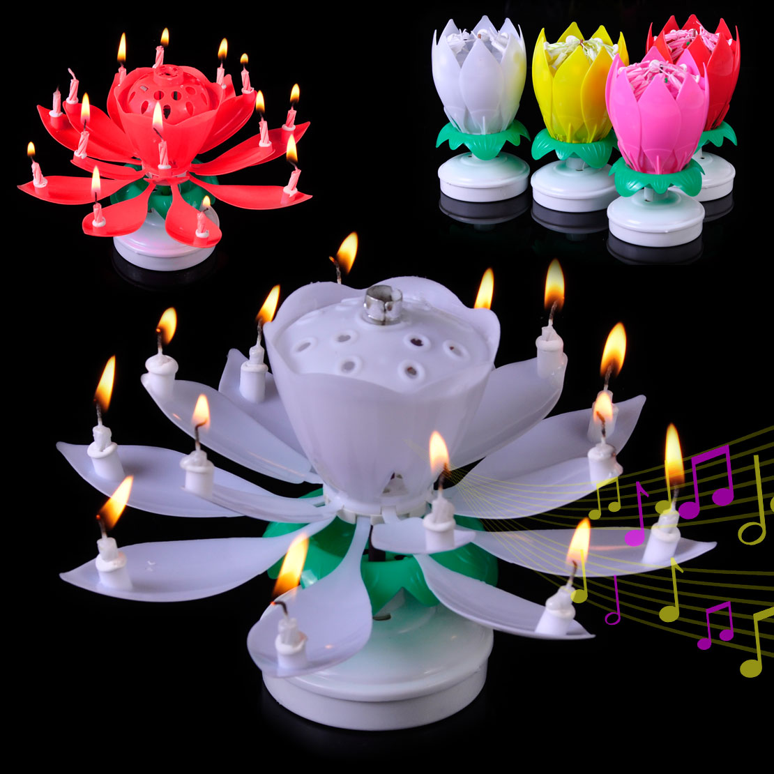 Rotating Musical Lotus Flower Happy Birthday Candle ...
