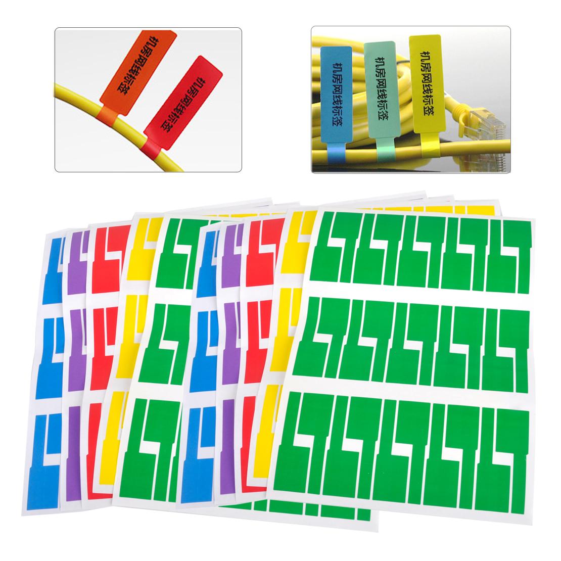 300stk 5-Farbe Klebe Etiketten Kabel Markierungen Selbstklebend Label Marker NEU