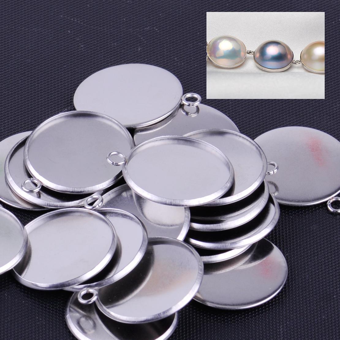 20Pcs Blank Bezel Tray Base for Pendants Cabochon Setting Jewelry DIY Crafts