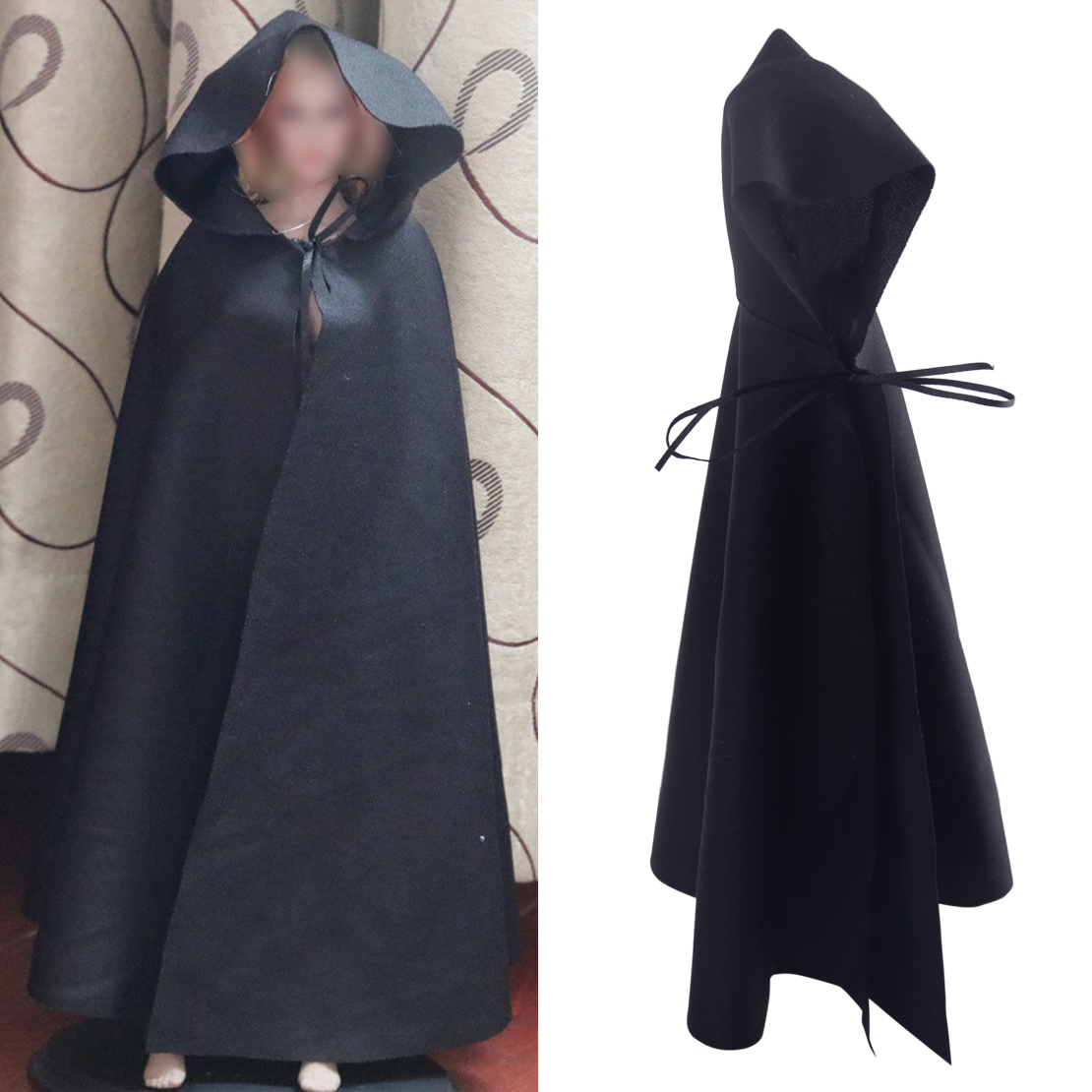 """1//6 Scale Black Soldier Hooded CLoak Cape for 12/"""" Action Figure Doll"""